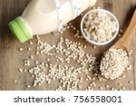 soymilk and barley seed   Shutterstock . vector #756558001