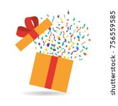 opened gift box with confetti.... | Shutterstock .eps vector #756559585