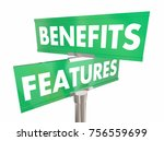features benefits road sign two ... | Shutterstock . vector #756559699