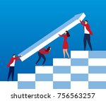 team together to change the... | Shutterstock .eps vector #756563257