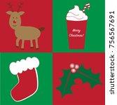 merry christmas items | Shutterstock .eps vector #756567691