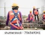 construction worker on... | Shutterstock . vector #756569341