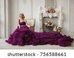woman in purple evening dress... | Shutterstock . vector #756588661