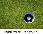 Golf Green With Golf Ball In...