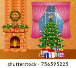 christmas room interior with... | Shutterstock . vector #756595225