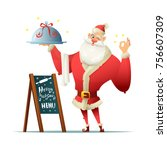 santa holds a tray in his hand... | Shutterstock .eps vector #756607309
