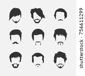 a set of men's hairstyles on a... | Shutterstock .eps vector #756611299