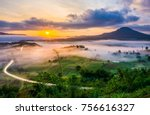 scenery view of sunrise with... | Shutterstock . vector #756616327