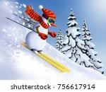 snowman skier extreme downhill... | Shutterstock . vector #756617914