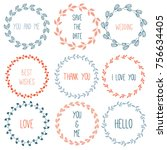 hand drawn floral wreath for... | Shutterstock .eps vector #756634405