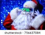 dj santa claus in luminous... | Shutterstock . vector #756637084