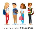 vector set of kids with books | Shutterstock .eps vector #756643384