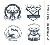 hunting club or hunt adventure... | Shutterstock .eps vector #756644611