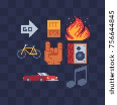 pixel art icons set. sub woofer ... | Shutterstock .eps vector #756644845