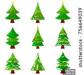 set of christmas trees.... | Shutterstock .eps vector #756649039