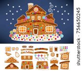 christmas gingerbread cookie... | Shutterstock .eps vector #756650245