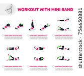 workout with mini band. fitness ... | Shutterstock .eps vector #756650881