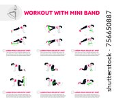 workout with mini band. fitness ... | Shutterstock .eps vector #756650887