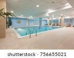 indoor swimming pool in hotel... | Shutterstock . vector #756655021