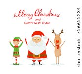 happy santa claus with little... | Shutterstock .eps vector #756655234