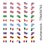set with flying flags of... | Shutterstock .eps vector #756656761