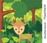 little deer in the forest...   Shutterstock .eps vector #756659659