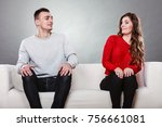 shy woman and man sitting on... | Shutterstock . vector #756661081