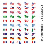 set with flying flags of... | Shutterstock .eps vector #756666925