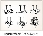 vintage set . capital letter u... | Shutterstock .eps vector #756669871