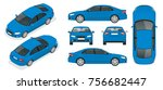 set of sedan cars. isolated car ... | Shutterstock . vector #756682447