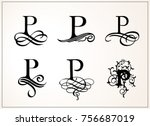 vintage set . capital letter p... | Shutterstock .eps vector #756687019
