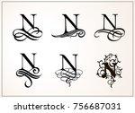 vintage set . capital letter n... | Shutterstock .eps vector #756687031