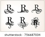 vintage set . capital letter r... | Shutterstock .eps vector #756687034
