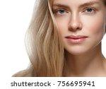 beauty woman face portrait.... | Shutterstock . vector #756695941