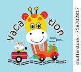 Stock vector giraffe rides a car 756702817