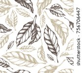 cocoa leaves seamless pattern... | Shutterstock .eps vector #756706447