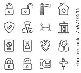 thin line icon set   lock ... | Shutterstock .eps vector #756710515