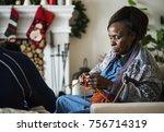 a black elderly woman in...   Shutterstock . vector #756714319