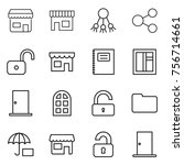 thin line icon set   shop ... | Shutterstock .eps vector #756714661