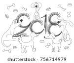 new year  design of 2018.... | Shutterstock .eps vector #756714979