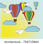 balloons in the form of hearts... | Shutterstock .eps vector #756715864