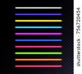 set of neon lamps. laser beams... | Shutterstock .eps vector #756720454
