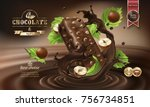 splashes of melted chocolate... | Shutterstock .eps vector #756734851