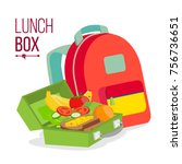 lunch box and bag vector.... | Shutterstock .eps vector #756736651