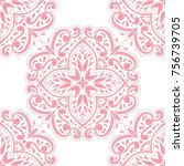 pink and white floral seamless... | Shutterstock .eps vector #756739705
