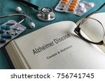 open book of alzheimer disease ... | Shutterstock . vector #756741745