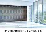 modern bright interiors empty... | Shutterstock . vector #756743755
