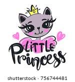 little princess illustration... | Shutterstock .eps vector #756744481