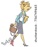 funny vector cartoon of messy...   Shutterstock .eps vector #756749665