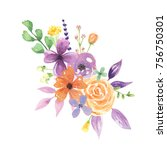 watercolor lavender flower... | Shutterstock . vector #756750301